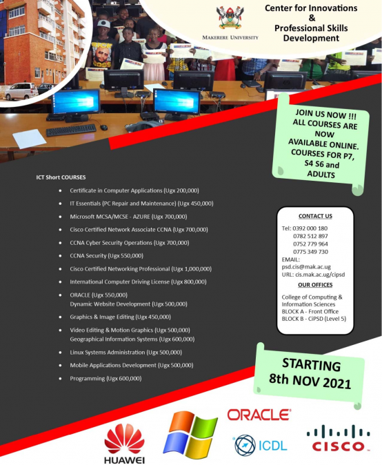 College of Ccomputing & Information Science (CoCIS) CIPSD Short Courses Online November 2021 Intake